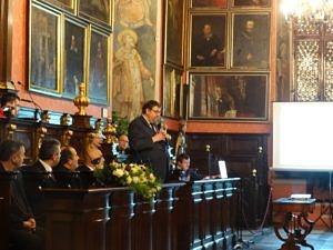Collegium Maius, głos zabrał poseł Szymon Giżyński, wiceprzewodniczący Komisji Mniejszości Narodowych i Etnicznych. Fot. Władysław Deńca