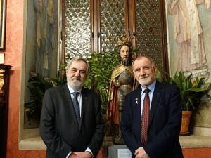 Collegium Maius, Jan Abgarowicz (Fundacja Kultury i Dziedzictwa Ormian Polskich) i prof. Jan Duda (AGH), ojciec prezydenta RP. Fot. Władysław Deńca