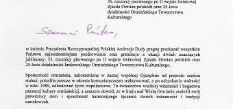 List z Kancelarii Prezydenta Rzeczypospolitej Polskiej