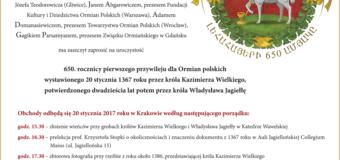 650. rocznica pierwszego przywileju dla Ormian polskich – zaproszenie